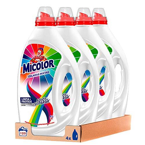 Micolor Gel Adiós Al Separar, Detergente Líquido para Lavadora, con Tecnología Anti-transferencia de Colores, 30 Lavados - Pack de 4, Total 120 Lavados
