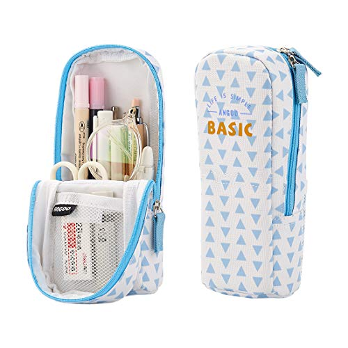 Oyachic Pencil Case Stand Up Pencil Holder Stand Store Pencil Pouch Bag Upright Canvas Pen Box Organizer Stationery for School Office Student