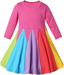 Festnight Girls Rainbow Dress Princess Dress OP Pink
