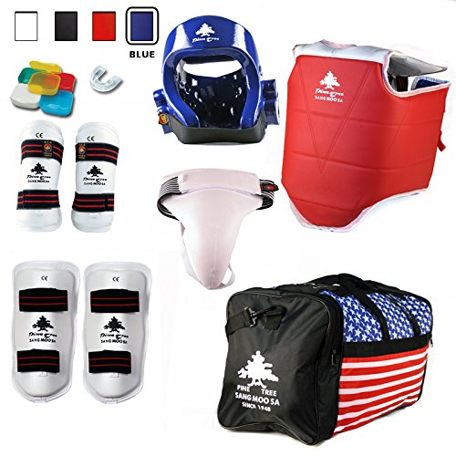 Pine Tree Complete Vinyl Martial Arts Sparring Gear Set with Bag, Shin, & Groin, Small Blue Headgear, Child Small Other Gears Male