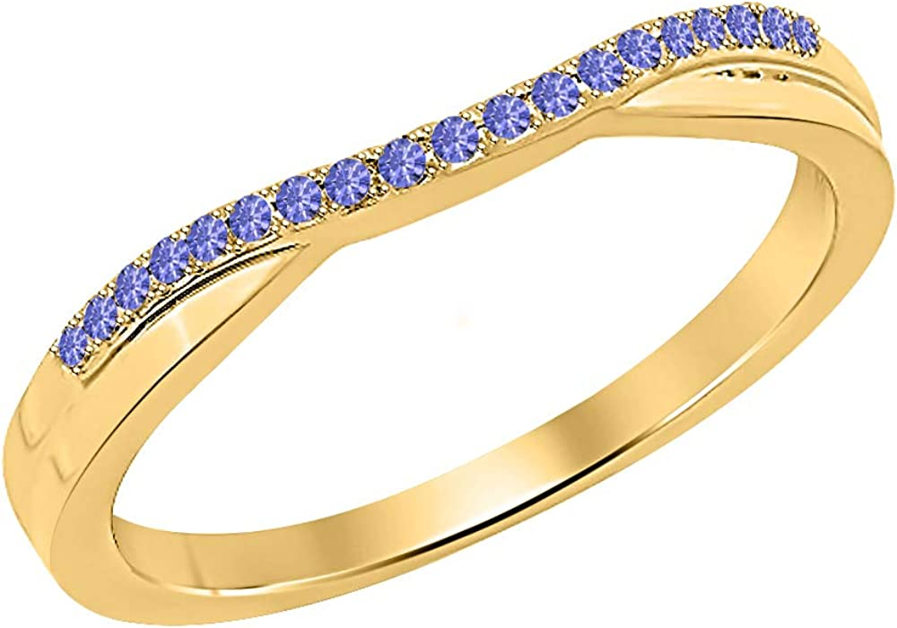 SVC-JEWELS 1.20ct Round Cut 14k Yellow Gold Plated Tanzanite Enhancer Ring Guard For Women's