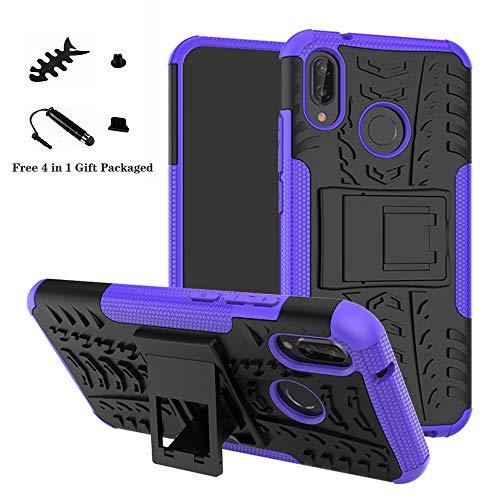 Huawei P20 Lite Funda,LiuShan Heavy Duty silicona Híbrida Rugged Armor soporte Cáscara de Cubierta Protectora de Doble Capa Caso para Huawei P20 Lite Smartphone(Con 4 en 1 regalo empaquetado),Púrpura