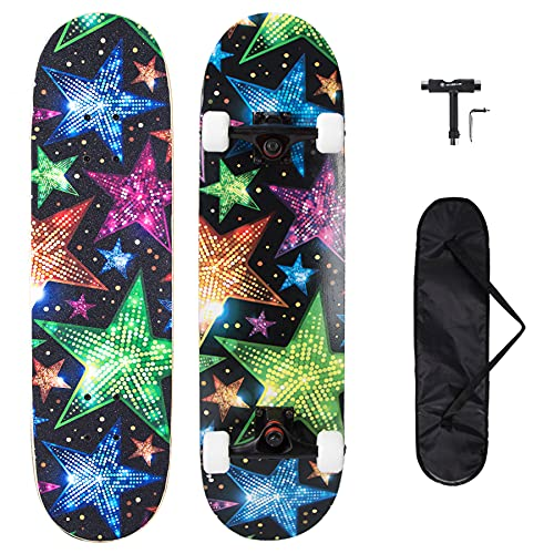 METROLLER Skateboards,31 x 8 Complete Standard Skate Boards for Girls Boys Beginner, 7 Layer Canadian Maple Double Kick Concave Skateboard for Kids Youth Teens