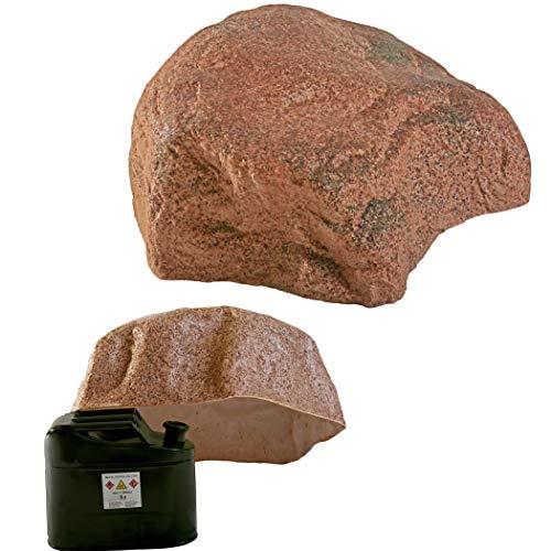 GARTENDEK Piedra Grande Decorativa para el Jardín Exterior, Roca Artificial Hueca y Falsa para el Diseño de Patio, Oculta Utilidades, Cubre 47 Centímetros S-06, Rojo