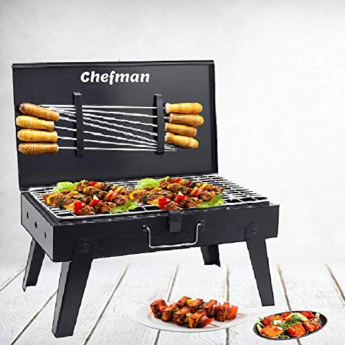 Chefman Briefcase Barbeque Grill Charcoal Large Size Outdoor with Wooden Handle Set (Black) 1 BBQ, 1 Grill, 8 Skewers, 1 Tong | Picnic/Outdoor Parties/Roasting, Grilling Food