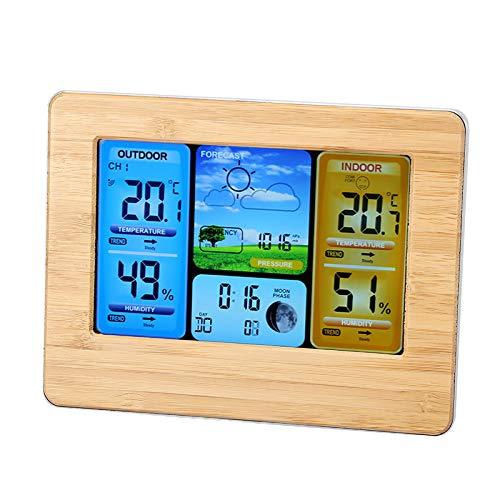 Maquer Stazione di previsione, barometro Digitale LCD igrometro, Stazione meteorologica di monitoraggio dell'umidità, termometro per Esterni per Interni(Neutral-Yellow)