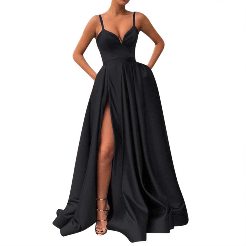 Prom Dresses - Long Spaghetti Straps V-Neck Satin A-Line Prom Dress With Pockets
