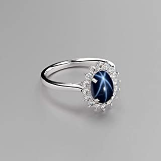 Genuine Blue Star Sapphire Sterling Silver Ring Halo with White Topaz