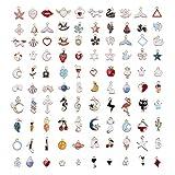comius sharp 100 pezzi ciondoli per creazione di gioielli misti stili retrò argento ciondolo charm per gioielli fai da te per bracciale collana orecchini creazione di gioielli (colore)