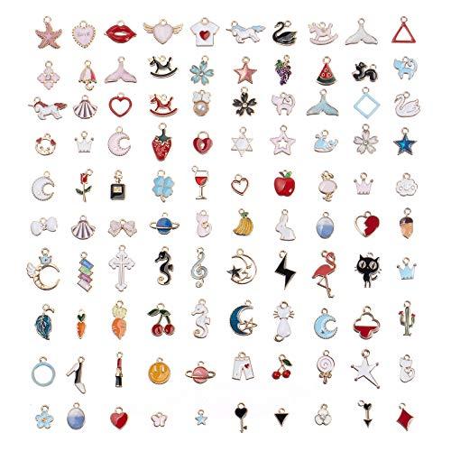 Comius Sharp 100 Stück Tibetischen Silber Mixed Charms Anhänger Handgemachte Schlüsselzubehör DIY Halskette Anhänger für Schmuck Machen und Basteln (Farbe)