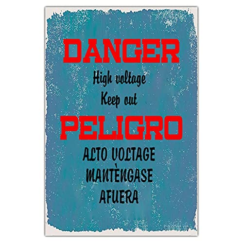Cartel de metal personalizado con peligro de alto voltaje, estilo vintage, para decoración de jardín, rectangular, de aluminio, fácil de montar, color azul, 20,32 x 30,48 cm