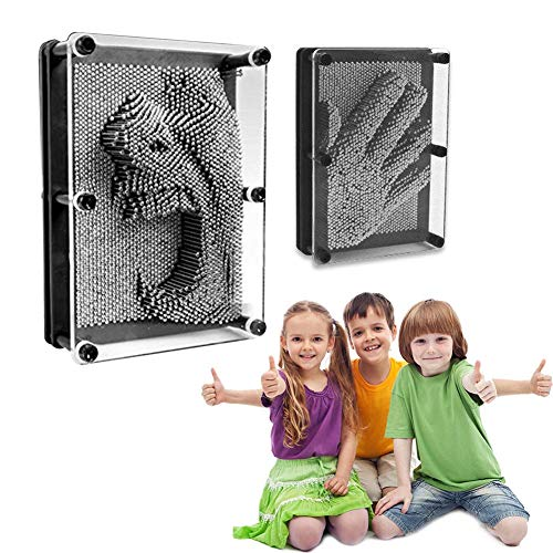 Riosupply Educational Toy Small 3D Metal Clone Fingerprints Classic 3-Dimensional Pin Art Board Metal Silver Toy For Sculptures Children & Adults Learning Gift