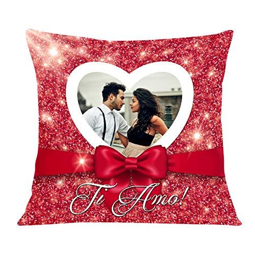 """Babloo Cuscino Love Quadrato Idea Regalo SanValentino """"Ti Amo Con Cuore"""" Personalizzato con Vostra Foto (40_x_40_cm)"""