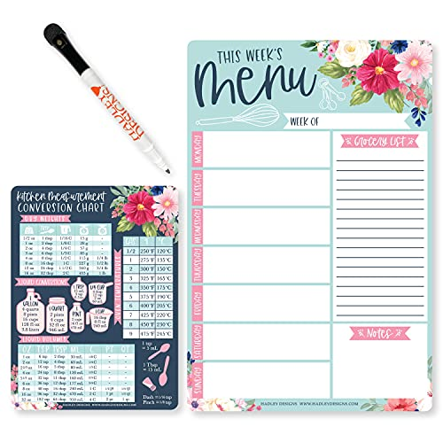 Weekly Meal Planner Dry Erase Board for Refrigerator - Floral Magnetic Weekly Menu Board for Kitchen Conversion Chart Magnet, Magnetic Meal Planner for Refrigerator, Magnetic Menu Board for Fridge