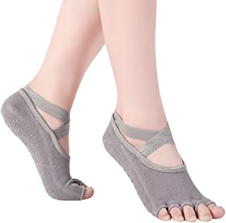 Mujeres Toeless Antideslizante Fitness Yoga Pilates Calcetines Puños y Correas