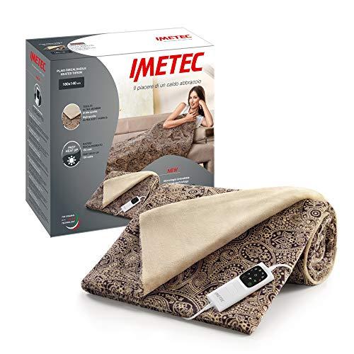 Imetec Adapto Velvet Jaquard Heizdecke, 140 x 180 cm, aus samtig weichem Gewebe, mit Adapto-Technologie und Sicherheitssystem, heizt schnell auf, 6 Temperaturen, waschbar in der Waschmaschine