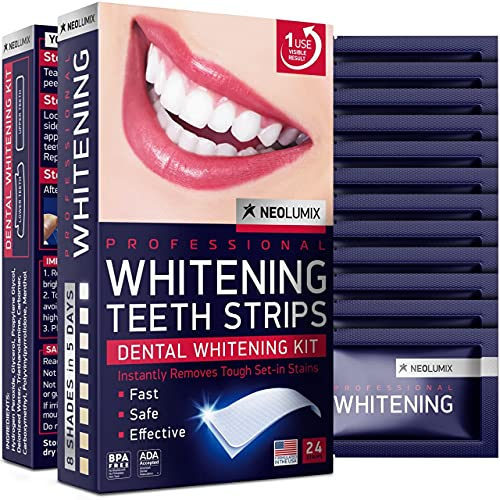 Whitening Strips for Sensitive Teeth - Dental Grade Whitening - White Smile - Removes Coffee, Tea Smoking & Wine Stains - 24 pcs Whitener Set - Formulated in USA