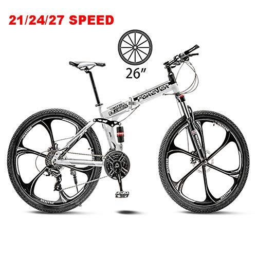 NYANGLI Faltbare Trekking Fahrrad Cross Trekkingräder, 26 Zoll MTB Erwachsener Land Gearshift Stahl-Rahmen Fahrrad,Hardtail Mountainbike Mit Verstellbarem Sitz 6 Cuttern,Weiß,27speed