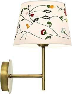 Mopoq Wall Light Bedside Lamp Antique Brass Metal with 8-Color Embroidery Fabric Shade Wall Lamp Indoor Bar Restaurant Hot...