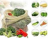 TuToy Bolsa de malla de algodón ecológica Produce bolsas de compras de contenedores de almacenamiento de frutas para cocina - L