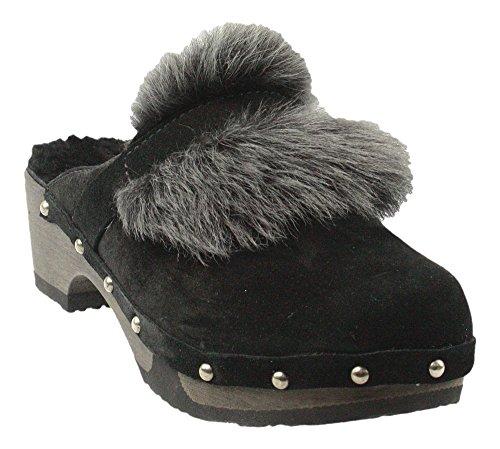 Softclox | T - Clog | Pantolette mit Fell- schwarz, Farbe:schwarz;Größe:38