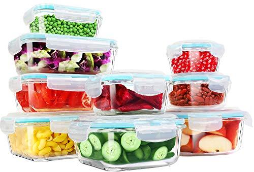 KICHLY - Contenedor de Almacenamiento de Alimentos de Vidrio - 18 pieza (9 envase y 9 transparente tapa) - Apto para lavavajillas, microondas y congelador - Sin BPA, aprobado por la FDA y la FSC