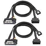 Senmubery Cable de Datos SATA 6G de 2 Piezas, Cable de ExtensióN 2 en 1 de AlimentacióN SATA, LP4 IDE una SATA 15P Hembra con Serial ATA III de 7 Pines Hembra