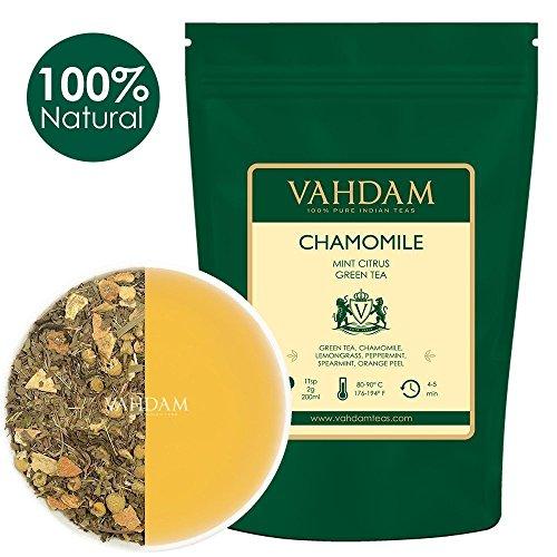 Hojas sueltas de té verde menta manzanilla, 200 gramos (100 tazas) | Refrescante y energizante té de menta | Hojas de té verde, manzanilla, menta, hierbabuena, cáscara de naranja, hierba de limón