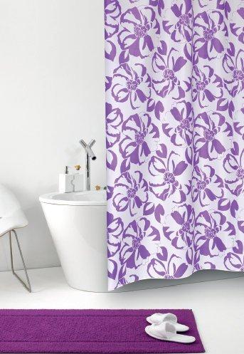 wohnideenshop Duschvorhang Tessuto Giglio weiß lila 180cm x 200cm inkl. Ringe Shower Curtain