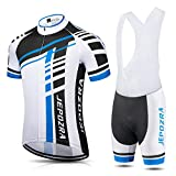 Maillot Ciclismo Hombre Verano Ropa Bicicleta Traje Ciclista Camiseta Manga Corta Transpirable y Pantalon Corto Bici Gel(blu, M)