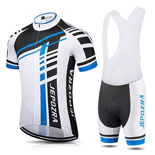 JEPOZRA Completo Ciclismo Uomo Estivo Abbigliamento Mountain Bike Tuta MTB Trek Maglia Ciclismo Manica Corta e Pantaloncini Bici Imbottiti Salopette Ciclismo Gel(Blu, XL)