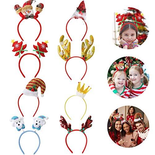 8Stück Weihnachten Stirnband,Weihnachts Haarreif,Weihnachts Haarreifen,Rentier, Bär, Geweih, Schneemann, Nikolaus, Weihnachtsbaum.
