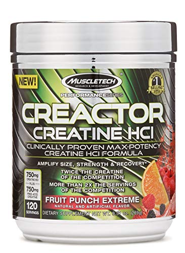 Creatine Powder   MuscleTech Cell-Tech Creactor   Creatine HCl Formula   Muscle Builder for Men & Women   Creatine HCl + Free-Acid Creatine   Creatine Supplements   Fruit Punch Extreme, 120 Servings