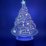 DFDLNL Lámpara 3D Árbol de Navidad Luz de Noche para niños Regalo Dormitorio Luces de Noche para niños Sueño Led Luz de Noche