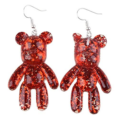 Joocyee Handcraft Bear Pendientes Colgantes para Mujer Joyería de Fiesta Cristal Multicolor Coreano A, Pendientes Rojos Perlas, Rojo