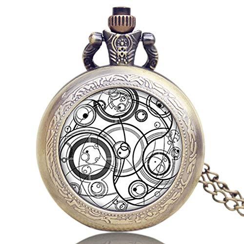 Reloj de bolsillo clásico, de cristal con domo Doctor Who reloj de bolsillo de cuarzo para hombres, regalo Watzh de bolsillo