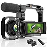 4K Video Camera Camcorder YouTube Vlogging Camera 48MP UHD WiFi IR Night Vision Camcorder 3'' 270°Rotation Touch Screen 16X Digital Zoom Camera Recorder with Microphone, Remote, Stabilizer, Lens Hood
