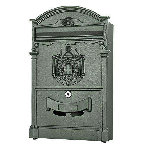 Melko Briefkasten Retro Postkasten Vintage Dunkelgrün Wandbriefkasten im klassischen italienisches Design mit Namensschild und A4 Einwurf-Format