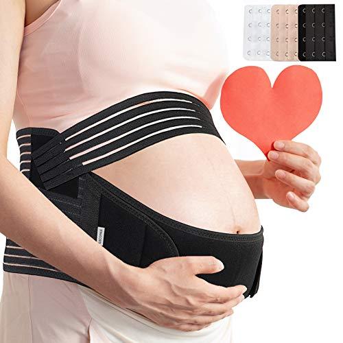 GECONLE Ceinture ventrale de grossesse - Ceinture de soutien pour la taille, le dos et le ventre - Noir - Large