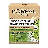 L'Oréal Paris Exfoliante facial y labios con azúcar y semillas de kiwi, exfoliante de Sugar Scrubs para aclarar el rostro, 2 x 15 ml