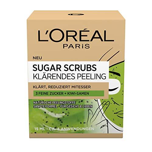 L\'Oréal Paris Peeling für Gesicht und Lippen, Mit Zucker und Kiwi-Samen, Sugar Scrubs Klärendes Peeling, 2 x 15 ml