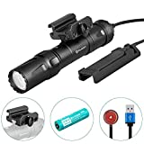 OLIGHT Odin 2000 Lumens Rechargeable Picatinny Rail Mounted Tactical Flashlight with Remote Pressure Switch, 300 Meters Beam Distance, Powered by 5000mAh 21700 Battery (Black)