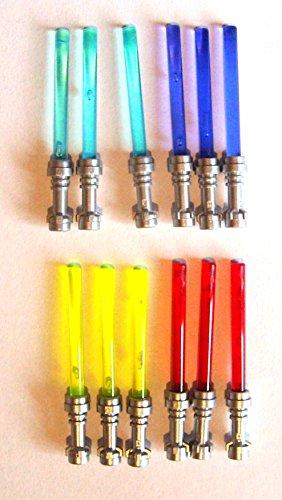 LEGO Star Wars - Espada láser con Mango Plateado (12 Unidades, 4 Colores)