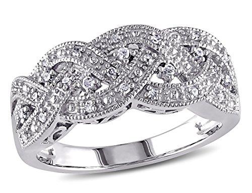 Braided Diamond Ring in Sterling Silver with Diamonds 1/8 Carat (ctw) (0.125 Ct Diamond)
