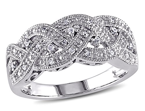 Braided Diamond Ring in Sterling Silver with Diamonds 1/8 Carat (ctw)