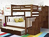 Bedz King Stairway Bunk Beds Twin over Full with 4 Drawers in the Steps and a Full Trundle, Espresso