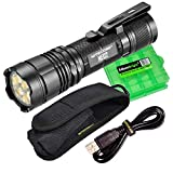 Nitecore NE02 2700 lumen USB rechargeable flashlight with battery and EdisonBright charging cable carrying case bundle