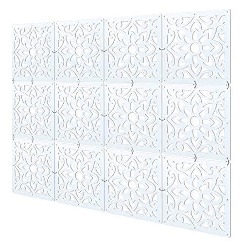 MYEUSSN Raumteiler Paravent Weiß DIY Paravents Raumtrenner Sichtschutz Umweltfreundlichem PVC Holz-Plastik Trennwand Home Dekoration für Wohnzimmer Schlafzimmer Küche Esszimmer 12pcs