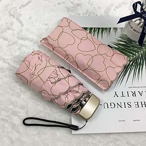Paraguas Plegable Mini Paraguas De Bolsillo Pequeño Paraguas Plegable Compacto Con Estilo De Amor Estilo Del Sol/Lluvia Sombrillas Femeninas Rosa