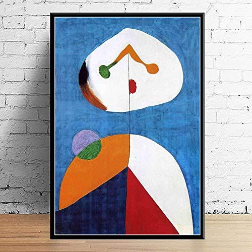 N / A Joan Miro Moderne Surrealismus Kunst Gemälde Abstraktes Bild Retro Kunst Leinwand Malerei Poster Wand Wohnkultur картины на стену 60x90CM KEIN Rahmen